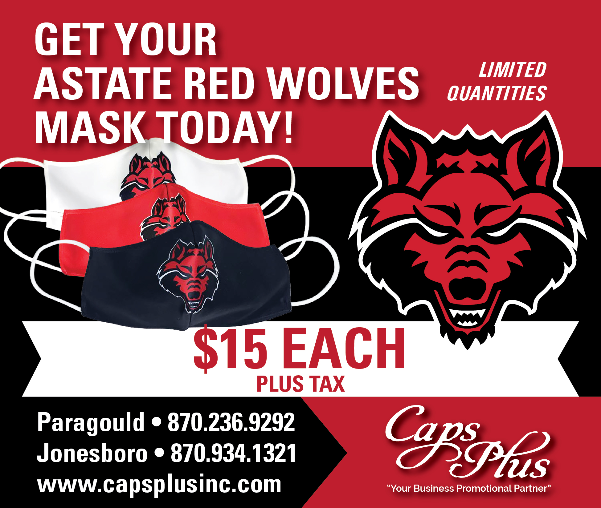 Asu red wolves dye sub face masks for sale